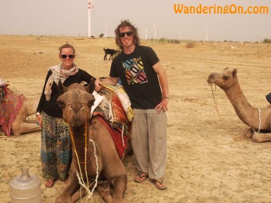 Brian and Noelle on camel safari in the Thar Desert near the India Pakistan Border, India