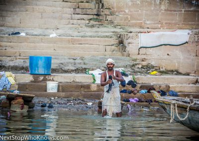 Washing Clothes in the River Ganges, India